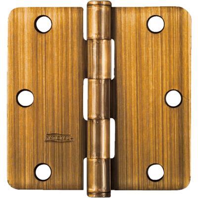 National 3-1/2 In. x 1/4 In. Radius Antique Brass Door Hinge