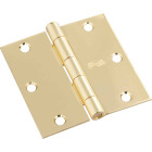 National 3-1/2 In. Square Polished Brass Door Hinge Image 1