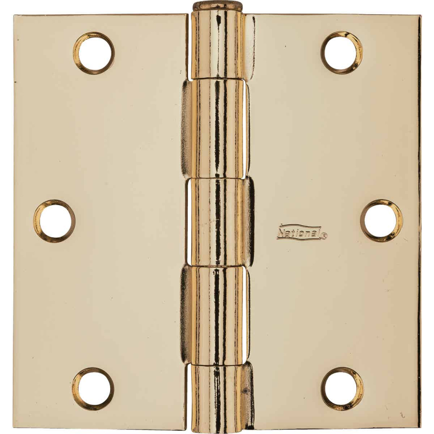 National 3-1/2 In. Square Polished Brass Door Hinge Image 2