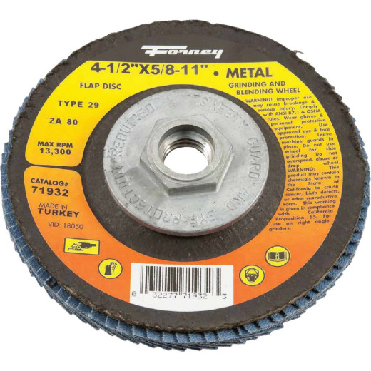 Forney 4-1/2 In. x 5/8 In.-11 80-Grit Type 29 Blue Zirconia Angle Grinder Flap Disc