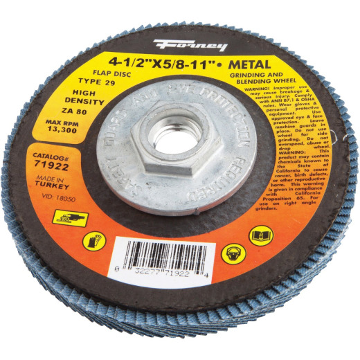 Forney 4-1/2 In. x 5/8 In.-11 80-Grit Type 29 High Density Blue Zirconia Angle Grinder Flap Disc