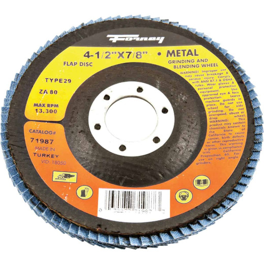 Forney 4-1/2 In. x 7/8 In. 80-Grit Type 29 Blue Zirconia Angle Grinder Flap Disc