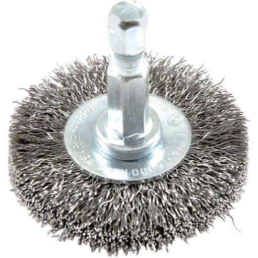 Forney 1-1/2 In. Hex Crimped, Fine Drill-Mounted Wire Wheel
