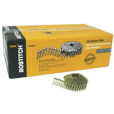 Bostitch 15 Degree Wire Weld Galvanized Coil Roofing Nail, 1-1/4 In. x .120 In. (7200 Ct.)