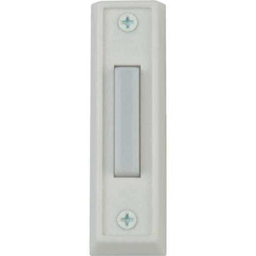 IQ America Wired White Metal Lighted Doorbell Push-Button