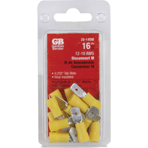 Gardner Bender 12 to 10 AWG Male Yellow Vinyl-Insulated Barrel Disconnect (16-Pack)