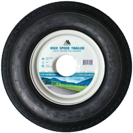 Marastar 4.80-8 In. Load Range B 4.125 In. Centered Hub, 1 In. ID Bushing Trailer Tire and Wheel