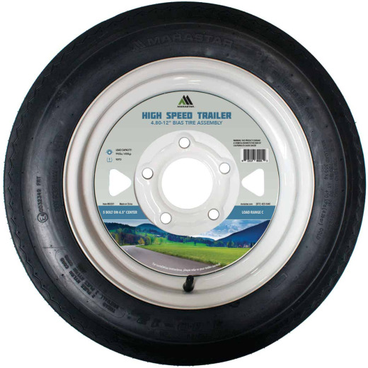 Marastar 4.80-12 In. Load Range C 5-Lug Trailer Tire and Wheel