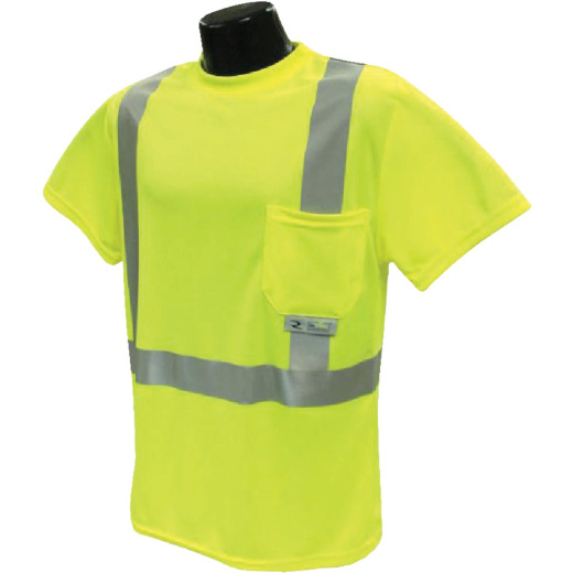 Radians Rad Wear ANSI Class 2 Hi Vis Green Safety T-Shirt XL