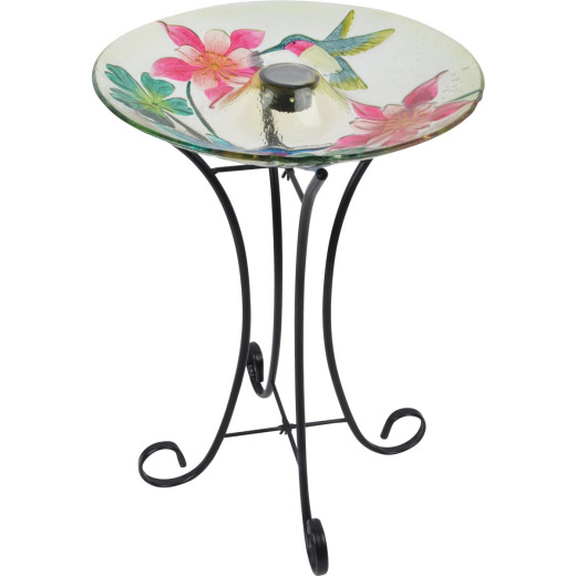 Best Garden Hummingbird & Flower Solar Bird Bath