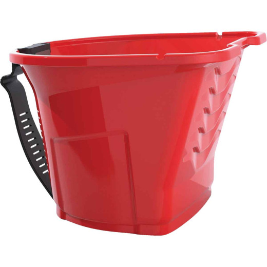 Handy Pro Pail 1 Qt. Red Paint Brush & Mini Roller Painter's Bucket With Adjustable Strap And Magnetic Brush Holder