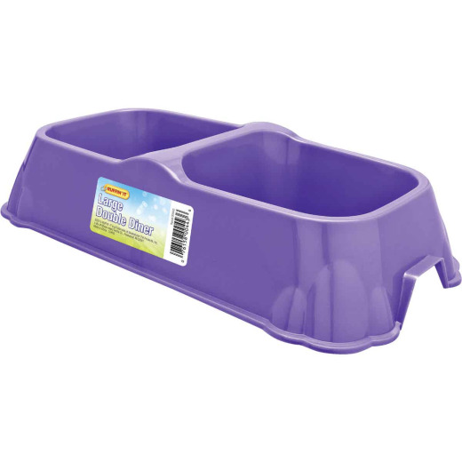Westminster Pet Ruffin' it Plastic Rectangle Large Double Pet Food Bowl