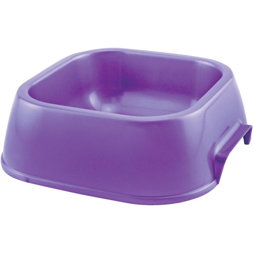 Westminster Pet Ruffin' it Plastic Rounded Square Small Pet Food Bowl