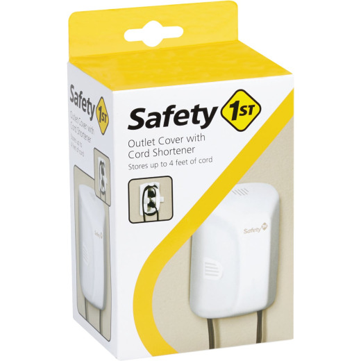 Safety 1st White Plastic Outlet Cover w/Cord Shortener