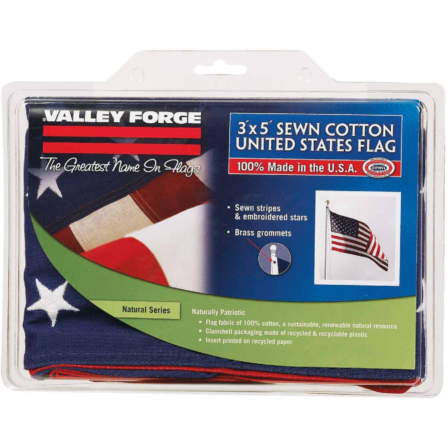 Valley Forge 3 Ft. x 5 Ft. Cotton Natural Series American Flag Image 1
