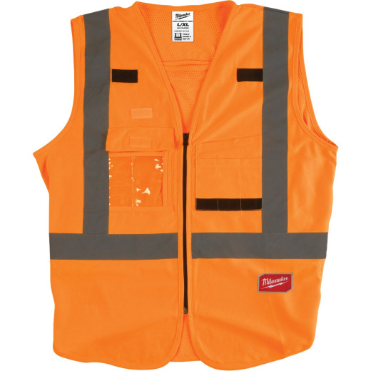 Milwaukee ANSI Class 2 Hi Vis Orange Safety Vest L/XL