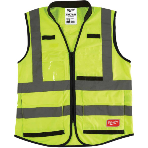 Milwaukee ANSI Class 2 Hi Vis Yellow Performance Safety Vest 2XL/3XL